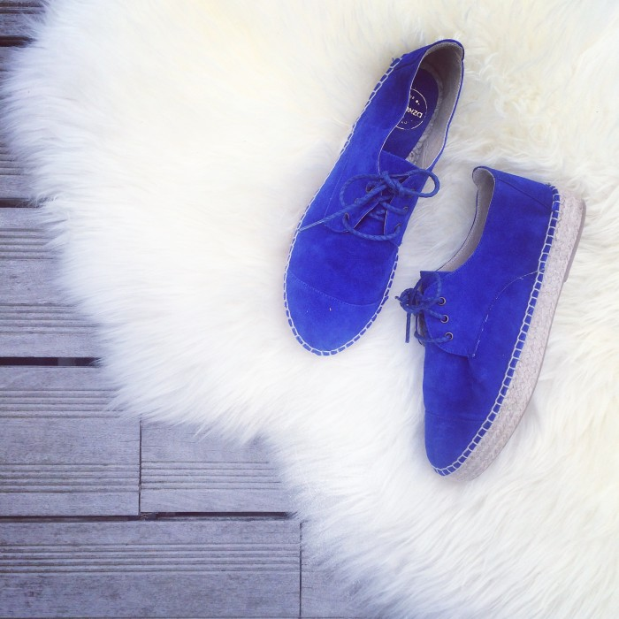 royal blue tied espadrilles sarenza